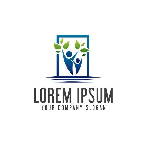 landscaping people logo design concept template.