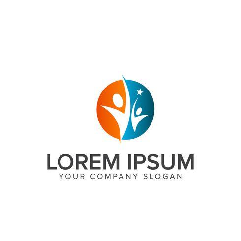 erfolgreiche Menschen Logos. Partnerschafts-Support-Logo-Design-Konzept