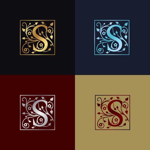 Logo decorativo letra S vector