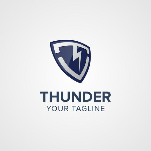 Creative Thunder Shield Logo koncept design mallar