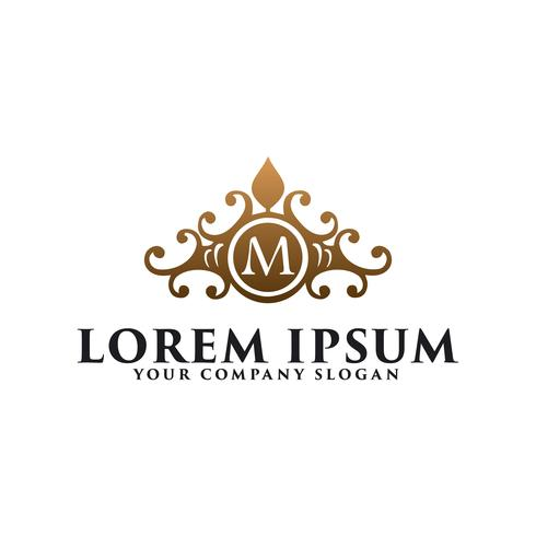 lyxig vintage blommig emblem med bokstav M, hotellrestaurang rea