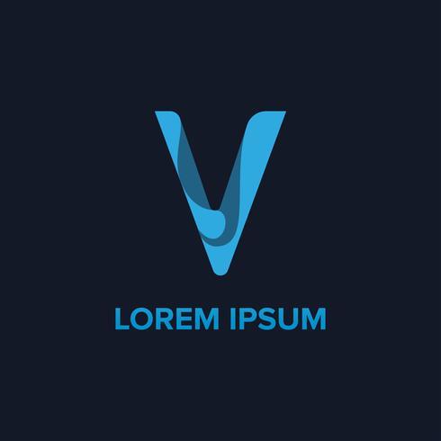 Logotipo da letra V. modelos iniciais do projeto de conceito do logotipo de V
