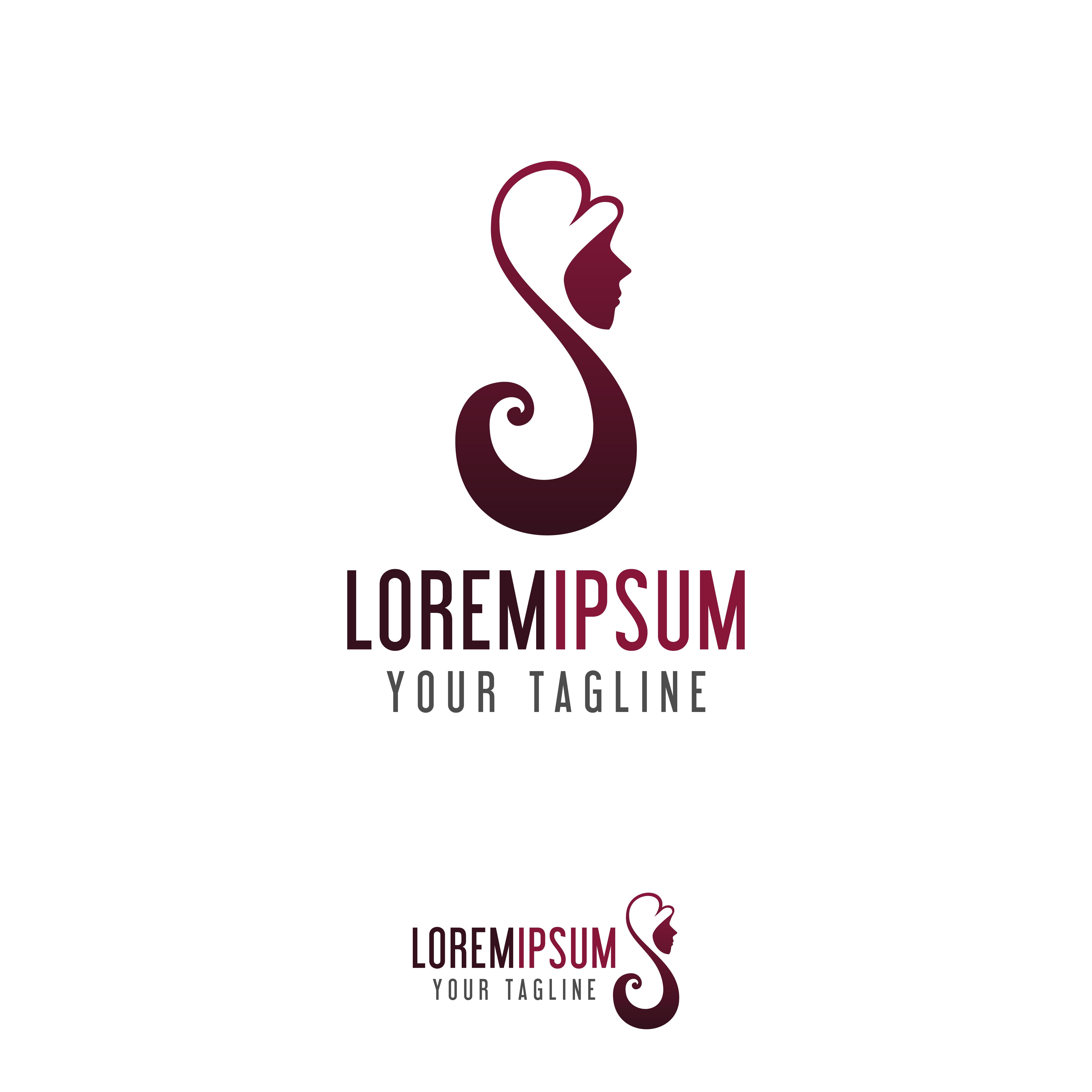 beauty hair woman logo design concept template - Download ...