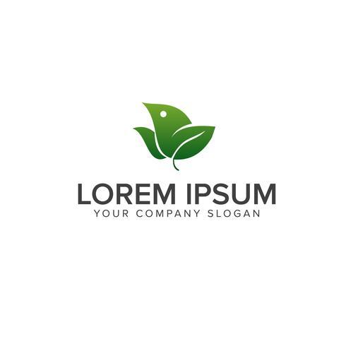 logo dell'uccello verde. modello di concetto di natura logo design