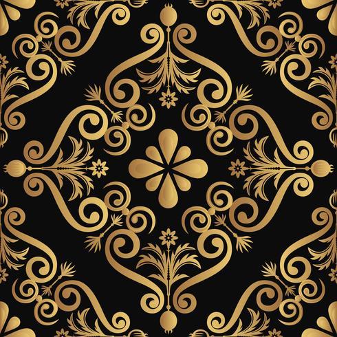 Ornamental lyx mönster design, gyllene färg på svart bakgrund