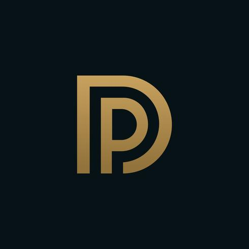 luxury Letter D and letter P logo. pd, dp initial overlapping in