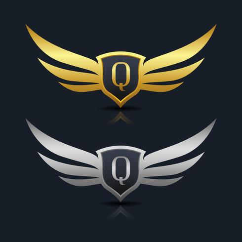 Wings Shield Letter Q Logo Template