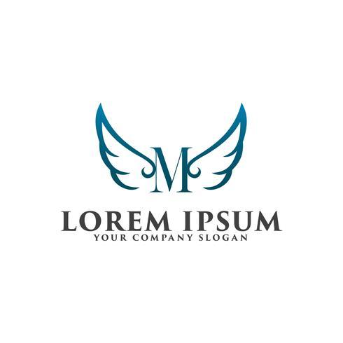 modelo de conceito de design de logotipo de asas de luxo letra M.