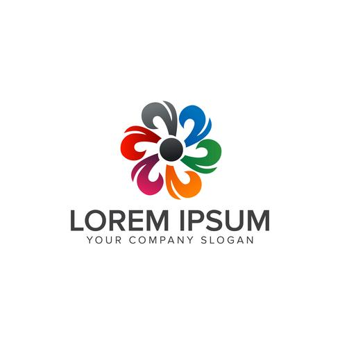 logo de fleurs abstraites. modèle de concept de design logo multicolore vecteur