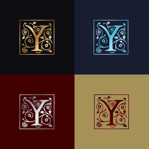 Brev Y Dekorativ logotyp vektor