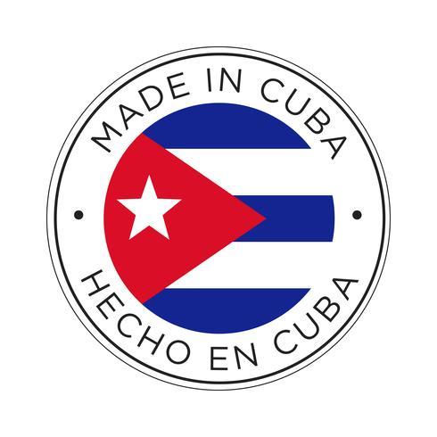 Hecho en el icono de la bandera de Cuba. vector