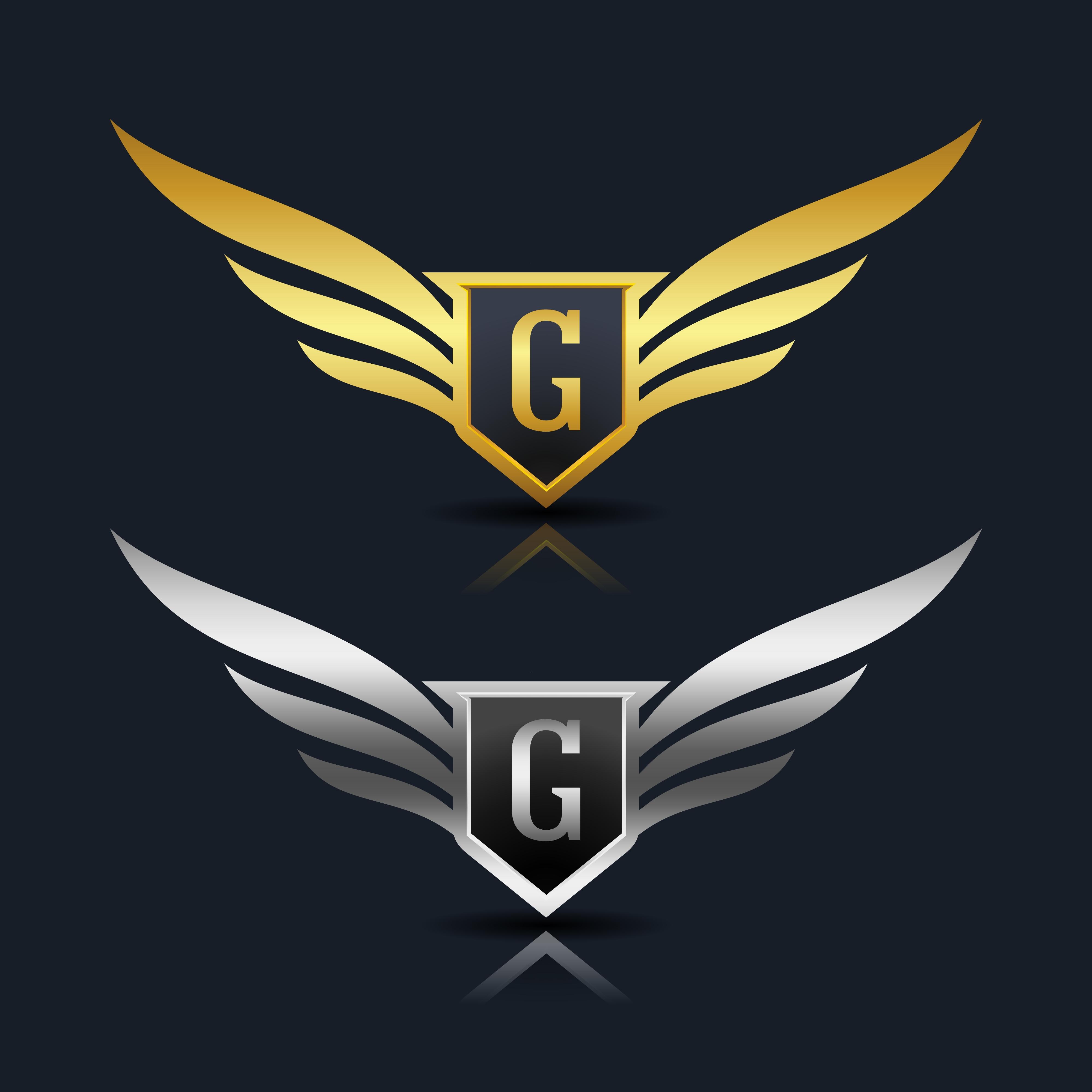 Wings Shield Letter G Logo Template