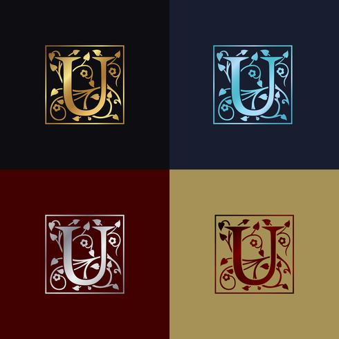 Logotipo decorativo da letra U