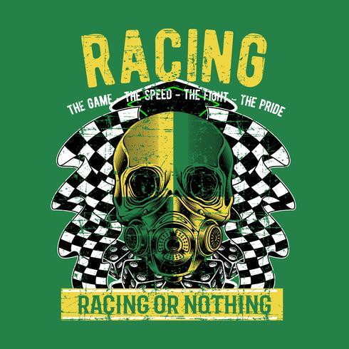 insegna del tatuaggio del cranio del cavaliere di vintagebiker di stile del grunge con l'illustrazione di vettore a quadretti di corsa di bandiera