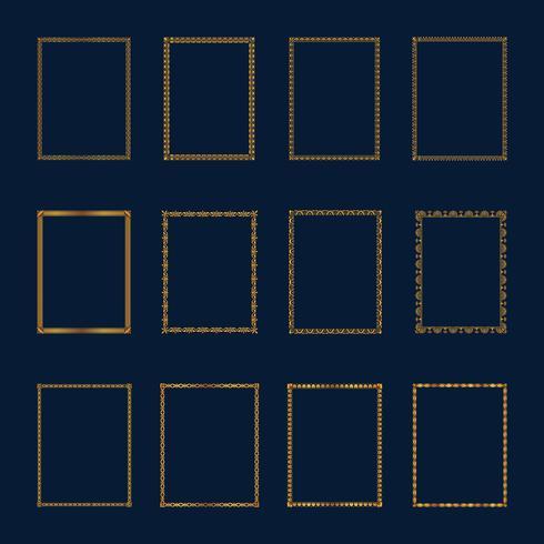 Conjunto de marcos dorados de lujo y set de bordes. Establecer marcos de oro plantilla elegante ornamento líneas. Para restaurante, realeza, boutique, hotel, heráldica, joyería, moda y otra ilustración vectorial