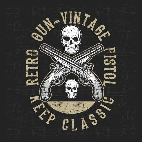 grunge style vintage pistol and skull hand drawing vector