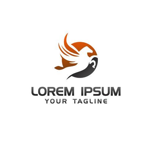 plantilla de concepto de diseño de logotipo de salto caballo