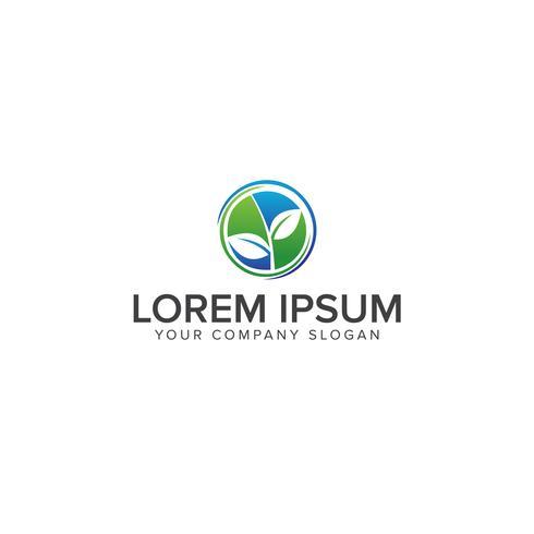 circular natural leaf icon logo design concept template