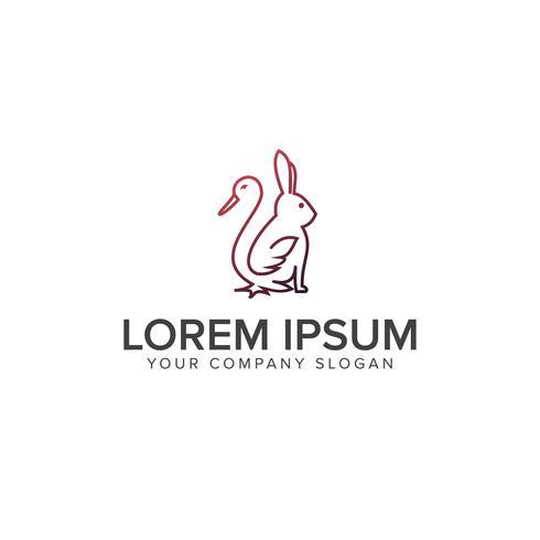Logotipo de conejo de pato de línea. concepto de logotipo de la granja. concepto de diseño de logo te