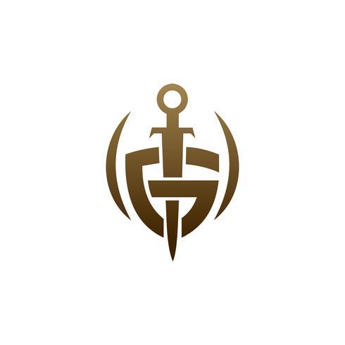 lettera G scudo spada logo. concetto di sicurezza logo design templat