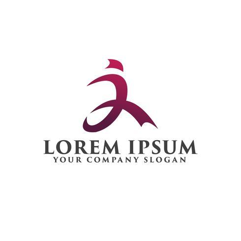 eseguire il logo di persone. modello di concetto di sport logo design