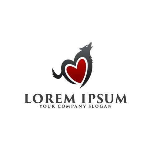 modelo de conceito de design de logotipo de lobo de amor