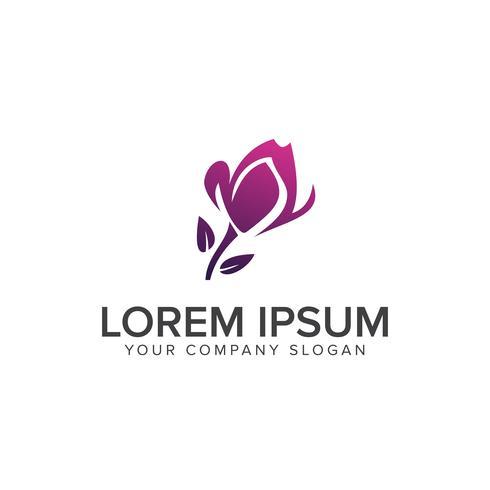 Landscaping purple Flower logo design concept template