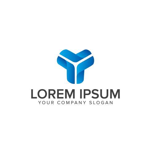 Y letter Blue 3d logo design concept template