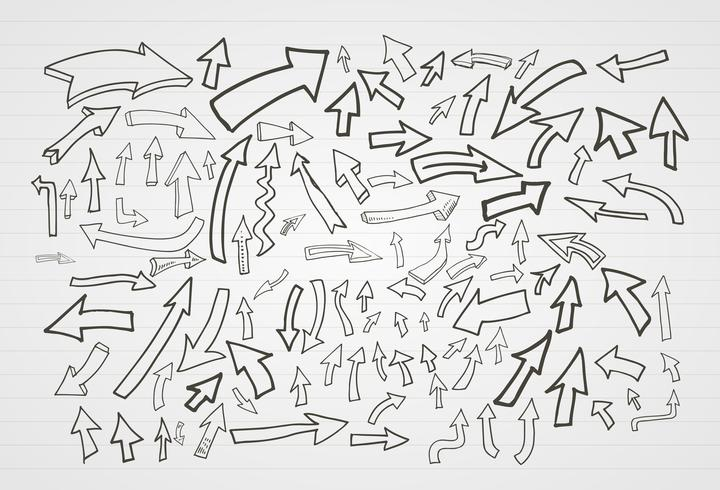 Insieme di elementi delle frecce disegnato a mano di vettore