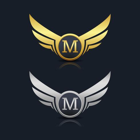 Plantilla del logotipo de la letra M del escudo de las alas