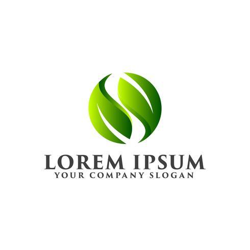 logotipo de la hoja de la letra s. Diseño de concepto de logos naturales.