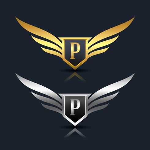 Wings Shield Letter P Logo Mall