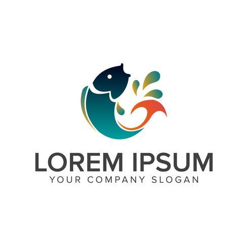 salta il logo del pesce. modello di concetto di design del logo animale