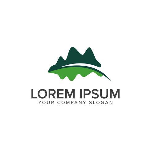 logotipo de la hoja de la montaña. Diseño de logo de Leaf Garden Floral Landscape con