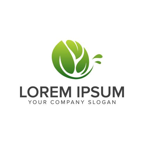 Logotipo de hoja natural. Jardín paisajismo logo diseño concepto templa