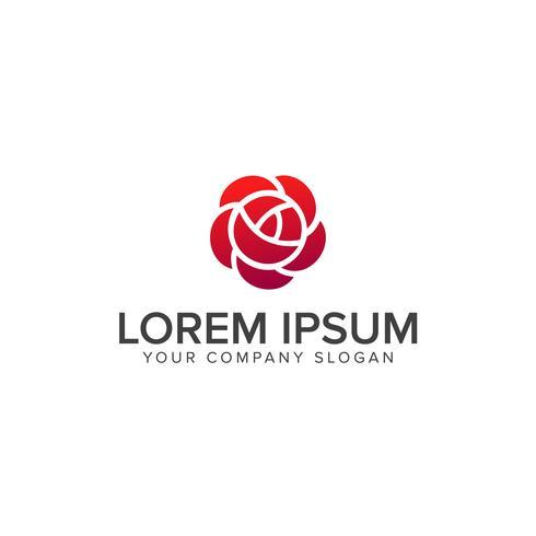 Modello di vettore di Rose Flower Logo disegno geometrico. Giardino Logotyp