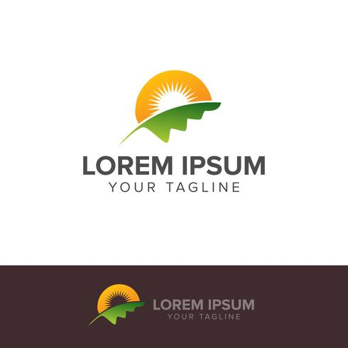 Nature Green Landscape Sunrise Logo Template