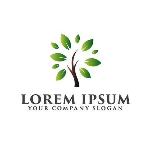 Aménagement paysager du jardin de feuilles. modèle de concept de conception de logo arbre