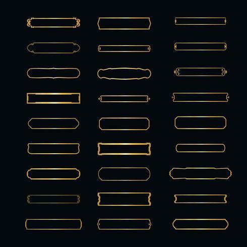 Vector Set di cornici eleganti. cornice orizzontale minimalista per logo e testi. Distintivi lineari isolati su sfondo bianco.