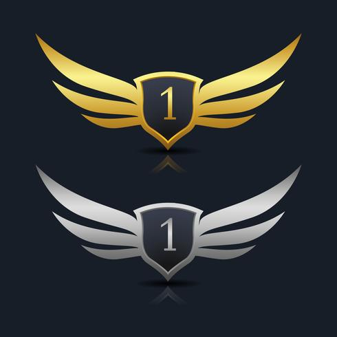 Wings Shield nummer 1 logo sjabloon