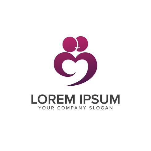 Paar Menschen küssen Liebe Logo Design-Konzept-Vorlage