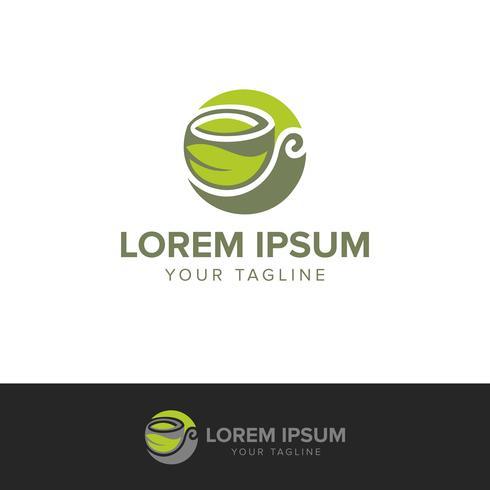 Modelo de conceito de design de logotipo de café ou chá de ervas