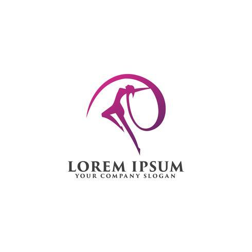 schöne Frau tanzen Logo-Design-Konzept-Vorlage