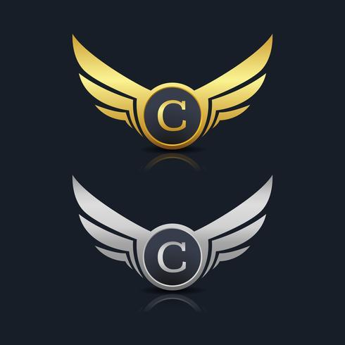 logotipo de emblema letra c