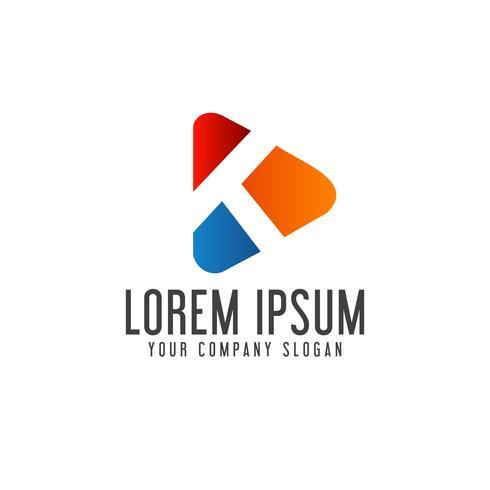 letter K media logo design concept template vector
