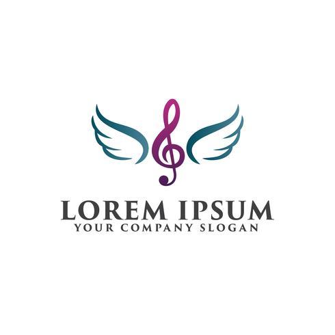 Plantilla de concepto de diseño de logotipo de música alas de entretenimiento