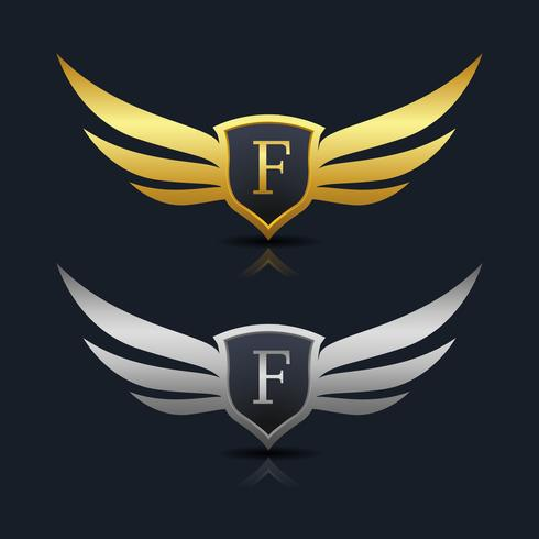 Wings Shield Letter F Logo sjabloon