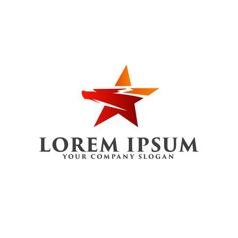 modello di concetto di design logo uccello stella