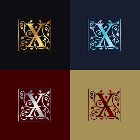 Carta X Logo Decorativa vetor