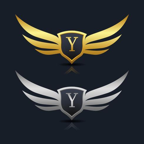Logotipo del emblema de la letra Y